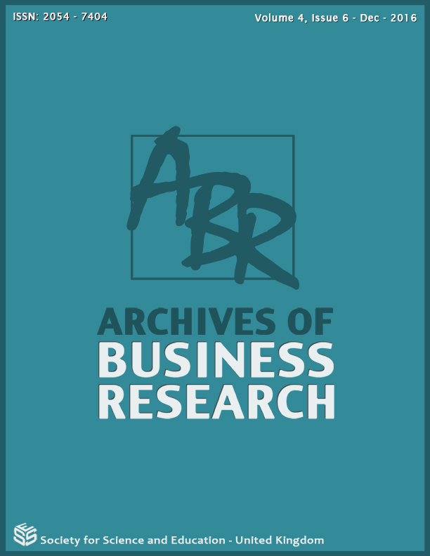 View Vol. 4 No. 6 (2016): Archives of Business Research